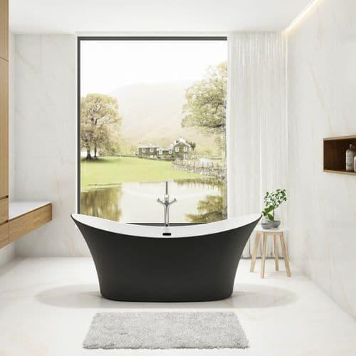 Charlotte Edwards Harrow Matt Black Contemporary Freestanding Bath - 1700 x 700 x 720mm