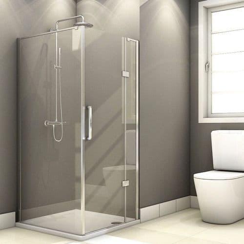 Fortuna Elite 800mm x 800mm Frameless Hinged Shower Door Enclosure 8mm Glass