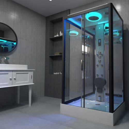 Insignia Premium 1150mm x 850mm Rectangle Steam Shower Cabin