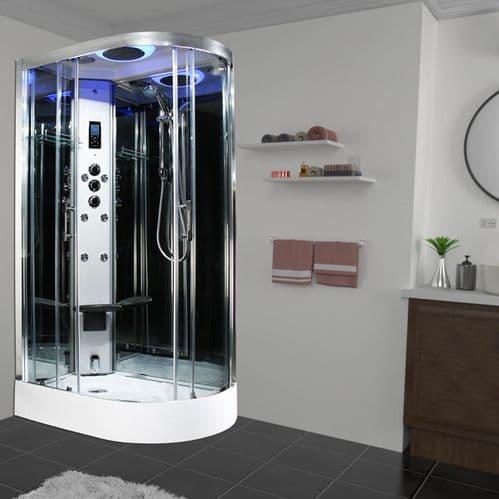 Insignia Premium LEFT 1100mm x 700mm Offset Quadrant Steam Shower Cabin Customise Frame / Glass