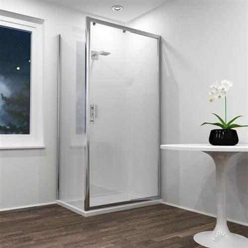 Jupiter 1200mm x 700mm Sliding Shower Door with Side Panel, Shower Enclosure Silver