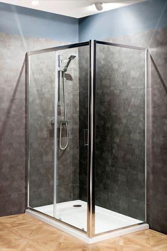 Jupiter 1400mm x 760mm Polished Silver Sliding Shower Enclosure