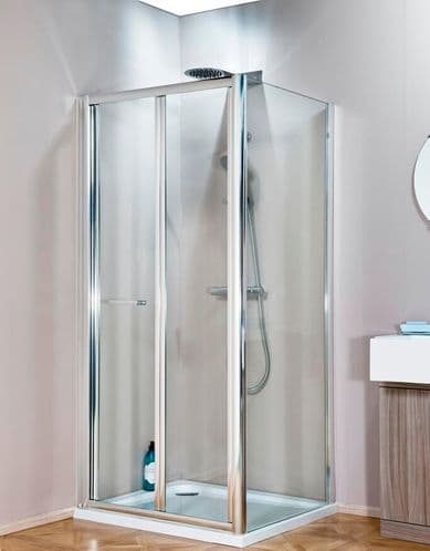 Jupiter 700mm x 900mm Polished Silver Bi-Fold Shower Enclosure