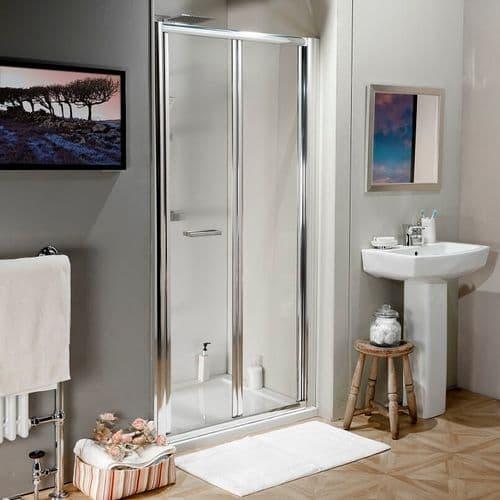 Jupiter 800mm Polished Silver Bi-Fold Shower Enclosure Door