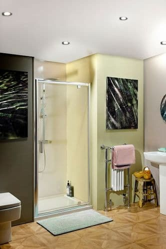 Jupiter 900mm Polished Silver Pivot Shower Enclosure Door