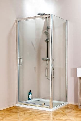 Jupiter 900mm x 800mm Rectangular Polished Silver Pivot Shower Enclosure