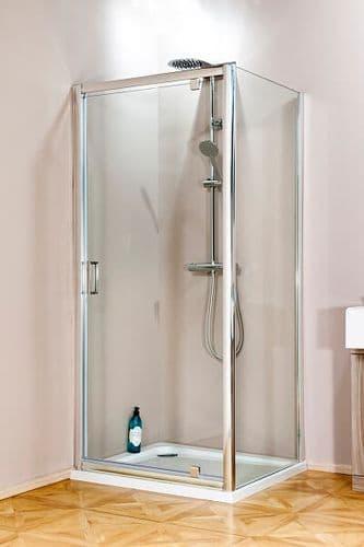 Jupiter 900mm x 900mm Square Polished Silver Pivot Shower Enclosure