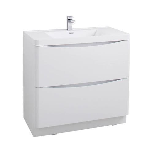 Jupiter Bali White Ash Wall Mounted 900mm Bathroom Vanity Unit And Basin WMC894WA