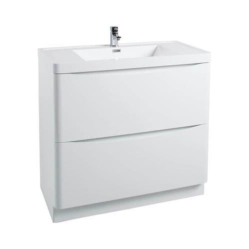 Jupiter Bali White Gloss Floor Standing 900mm Bathroom Vanity Unit And Basin