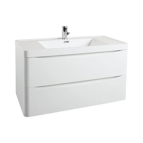 Jupiter Bali White Gloss Wall Mounted 900mm Bathroom Vanity Unit And Mid Edged Basin