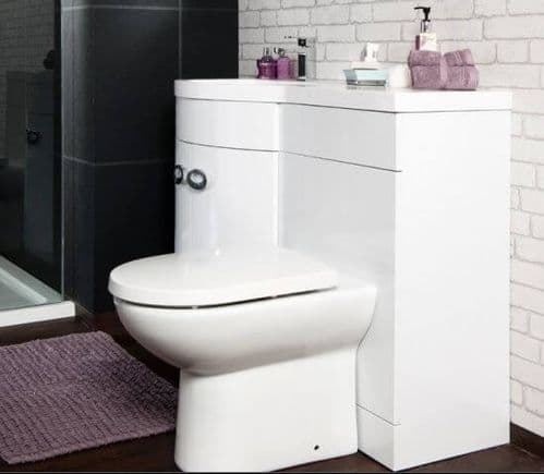 Jupiter Bathrooms 1100mm Left Hand D Shaped Vanity Unit with Basin inc Back to Wall WC UNIT