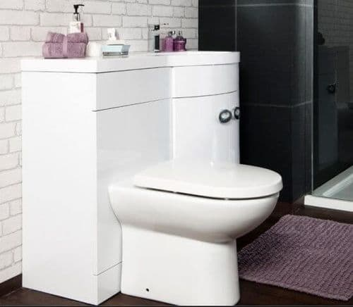 Jupiter Bathrooms 1100mm Right Hand D Shaped Vanity Unit with Basin inc Back to Wall WC UNIT