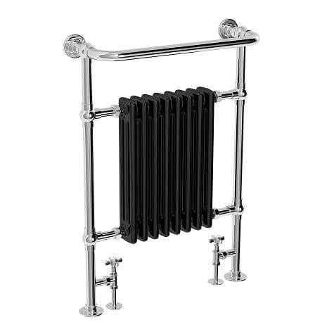 Jupiter Bathrooms Traditional Chrome and Black Heated Towel Rail 963mm x 673mm - CTR07