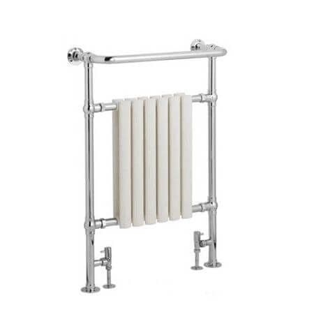 Jupiter Bathrooms Traditional Chrome and White Heated Towel Rail 963mm x 673mm - CTR08