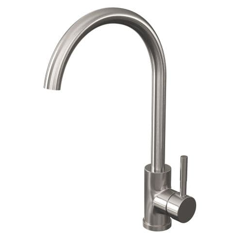 Jupiter Brushed Stainless Steel Single Lever Mono Kitchen Sink Mixer KTA025