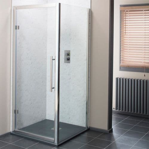 Jupiter Cass Hinged Shower Door Chrome Profile 900mm Wide 8mm Easy Clean Glass - HDR008