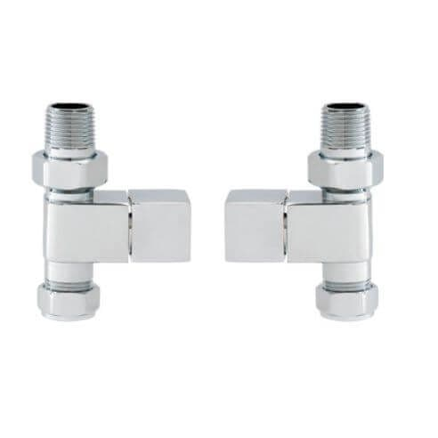 Jupiter Chrome Brass Straight Square Radiator Valves SSHVS1