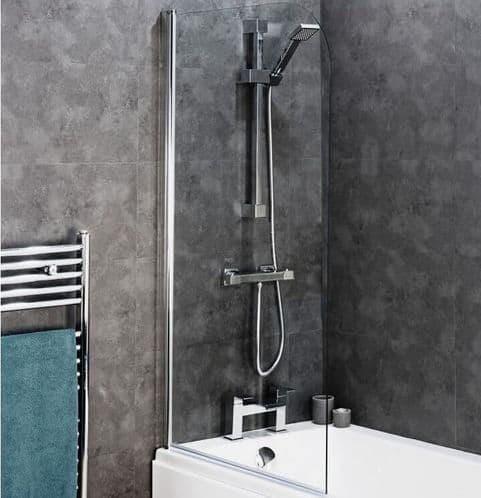 Jupiter Chrome Straight Curved TOP Bath Shower Screen 1400 x 800mm