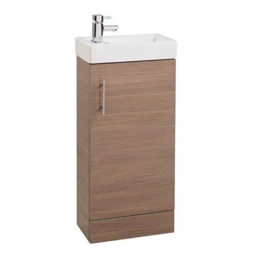 Jupiter Cube 400mm Single Door Cloakroom Vanity Unit With Basin Oak Finish CHI001