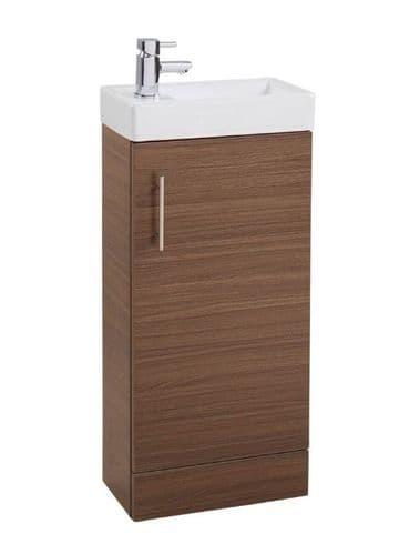 Jupiter Cube 400mm Single Door Cloakroom Vanity Unit With Basin Walnut Finish CHI002