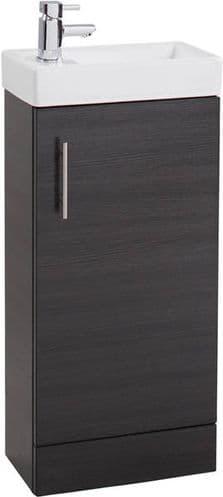 Jupiter Cube 400mm Single Door Mini Cloakroom Vanity Unit With Basin Black Ash CHI016