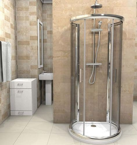 Jupiter D Shaped Shower Enclosure 900mm x 770mm One Wall Quadrant Shower Cubicle Inc Shower Tray