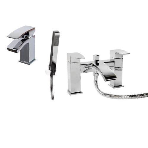 Jupiter Dawn Matt Black Basin Mixer & Bath Shower Mixer Bathroom Tap Pack