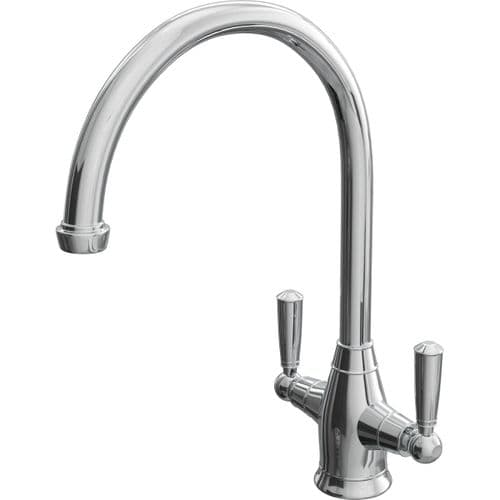 Jupiter Deck Mounted Round Dual Lever Mono Kitchen Sink Mixer Tap KTA014