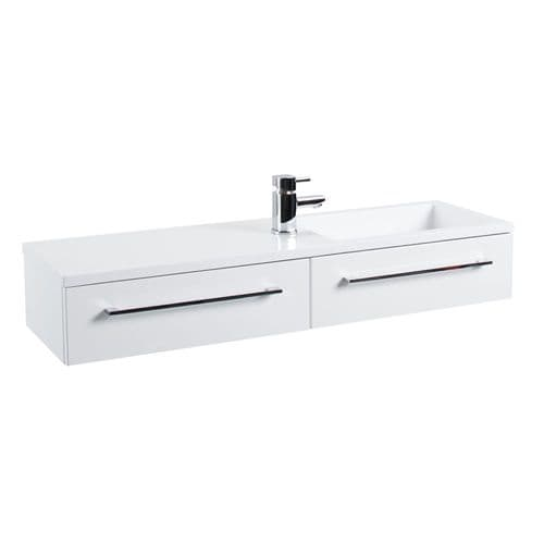 Jupiter Dias 2-Drawers 1 Tap Hole Wall Hung Vanity Unit 995mm Wide - Gloss White DIAK001
