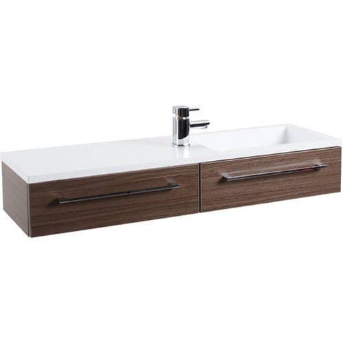 Jupiter Dias 2-Drawers 1 Tap Hole Wall Hung Vanity Unit 995mm Wide Walnut Wood Finish DIAK004