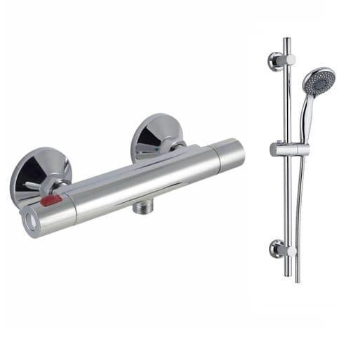 Jupiter Divine Cool Touch Thermostatic Bar Mixer Shower Valve  & Modern Slide Rail Kit- Chrome