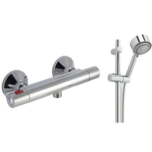 Jupiter Divine Cool Touch Thermostatic Bar Mixer Shower Valve  & Slide Rail Kit- Chrome
