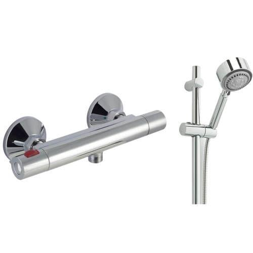 Jupiter Divine Cool Touch Thermostatic Bar Mixer Shower Valve  & Slide Rail Kit- Chrome