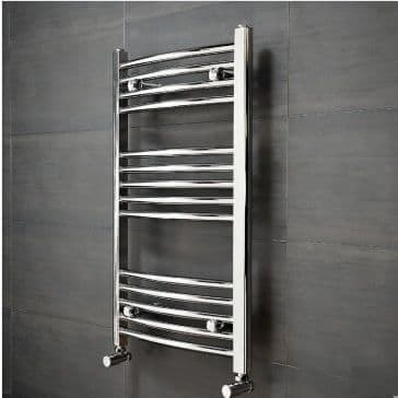 Jupiter Hayle Curved Chrome Vertical Designer Towel Rail Radiator L 1000mm x W 600mm