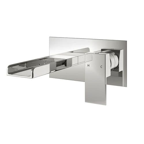 Jupiter Haze Wall Mounted Waterfall Bath Filler Tap Single Lever Square Design DUK016