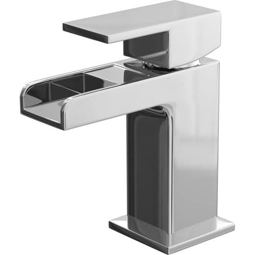 Jupiter Haze Waterfall Mini Mono Basin Mixer Tap Deck Mounted with Click Clack Waste