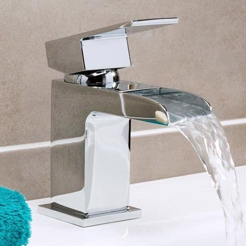 Jupiter Haze Waterfall Mono Basin Mixer Tap Deck Mounted with Click Clack Waste DUK001