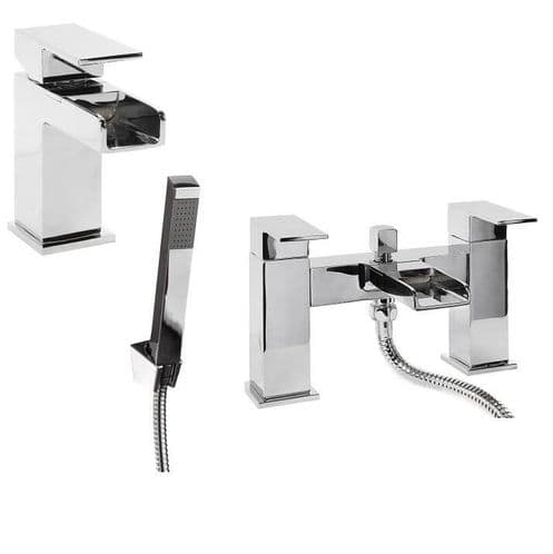 Jupiter Haze Waterfall Tap Basin Mixer & Bath Shower Mixer Bathroom Tap Pack