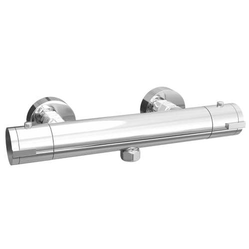 Jupiter Horizontal Thermostatic Shower Valve Bottom Outlet Mixer Bar Exposed Chrome Tap Round RVRD02