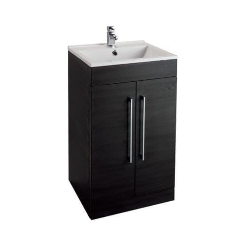Jupiter Idon Black Ash Finish 500mm Built In Basin 2 Door Vanity Unit Free Standing - ID50BU-BLK