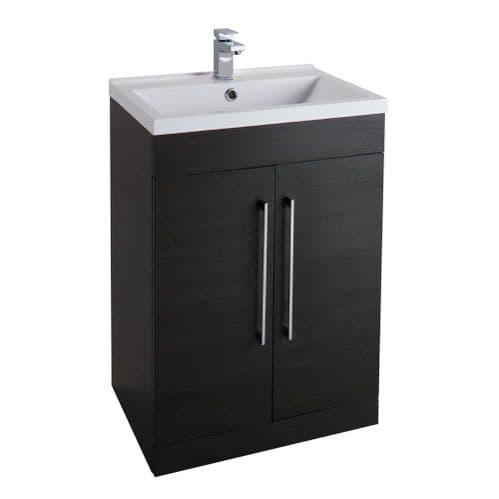 Jupiter Idon Black Ash Finish 600mm Built In Basin 2 Door Vanity Unit Floor Standing  - ID60BU-BLK