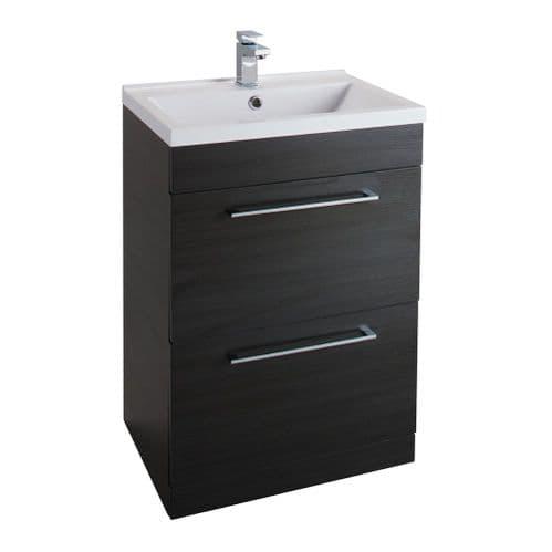 Jupiter Idon Black Ash Finish 600mm Built In Basin 2-Drawer Vanity Unit Floor Standing - ID60FS-BLK