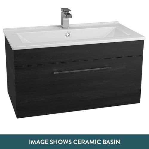 Jupiter Idon Black Ash Finish 800mm Built In Basin 1 Drawer Vanity Unit Wall Hung - ID80WH-BLK