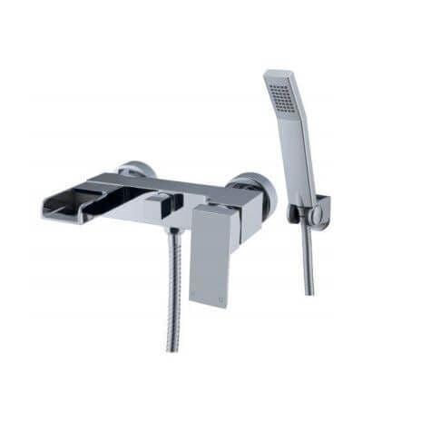 Jupiter Ingot Chrome Wall Mounted Waterfall Bath Shower Mixer - TF2312