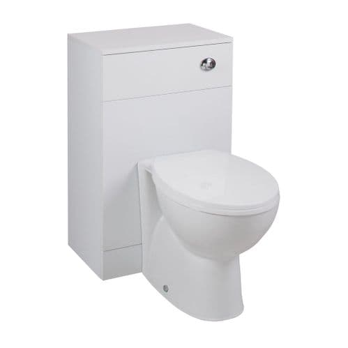 Jupiter Kass Churwell WC Unit with Toilet Pan and Seat + Cistern 850mm Depth Gloss White KASK004