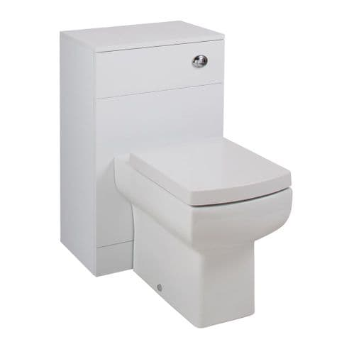 Jupiter Kass Daisy Lou Square WC Unit with Pan and Seat + Cistern 810mm Depth Gloss White KASK003