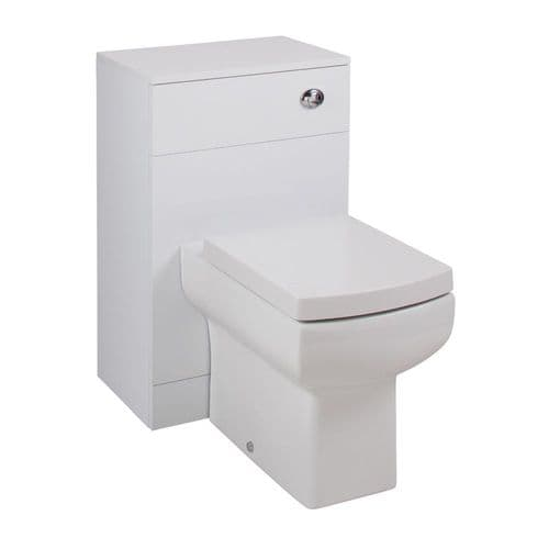 Jupiter Kass Daisy Lou Square WC Unit with Pan and Seat + Cistern 850mm Depth Gloss White KASK006