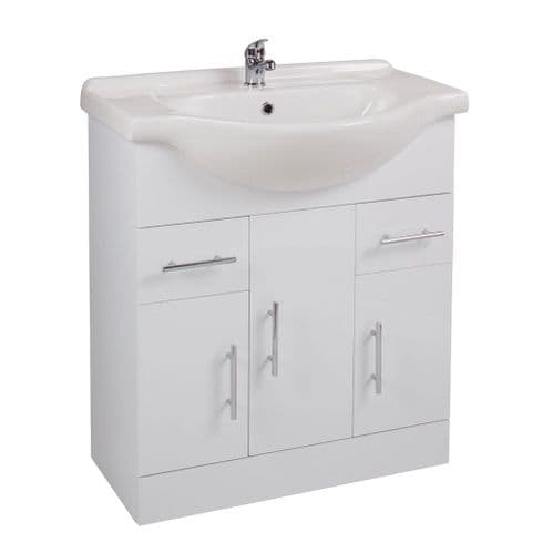 Jupiter Kass Floor Standing 3-Door 2-Drawer Vanity Unit With Basin 750mm Wide Gloss White KS75BU-BAS