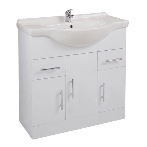 Jupiter Kass Floor Standing 3-Door 2-Drawer Vanity Unit With Basin 850mm Wide Gloss White KS85BU-BAS