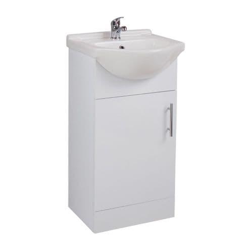Jupiter Kass Gloss White 1-Door Bathroom Floorstanding 450mm Vanity Unit With Basin KS45BU-BAS